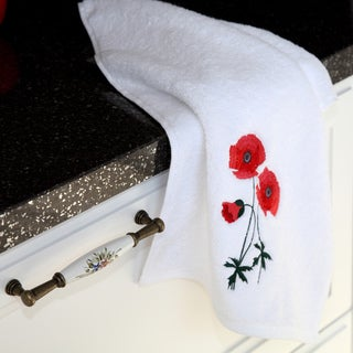 Authentic Hotel and Spa Soft Twist Turkish Cotton Hand Towel with Embroidered Red Poppy Flowers