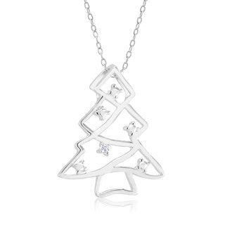 Rhodium-plated .10ct Diamond Accent Christmas Tree Necklace