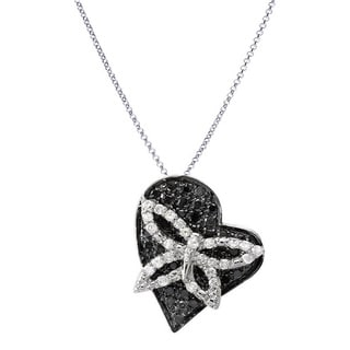 10k White Gold 1/2ct TDW Black and White Diamond Heart Pendant