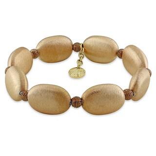 Miadora Goldtone Brushed Italian Silver Bracelet