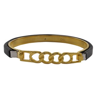 Luxiro Goldtone Stainless Steel Leather Link Bangle Bracelet