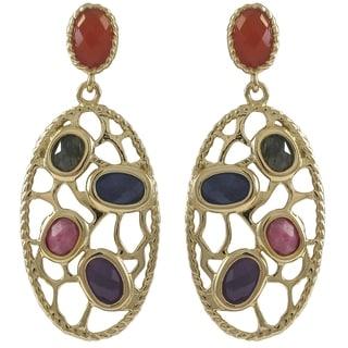 Luxiro Goldtone Sterling Silver Semi-precious Gemstone Filigree Oval Earrings