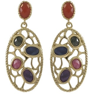 Luxiro Goldtone Sterling Silver Semi-precious Gemstone Filigree Oval Earrings