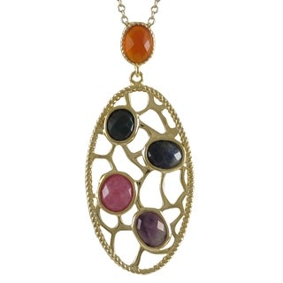 Luxiro Goldtone Sterling Silver Semi-precious Gemstone Filigree Oval Necklace