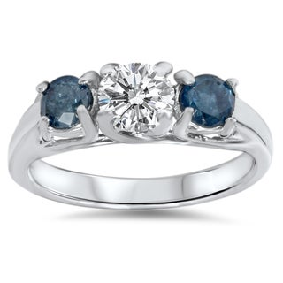 14k White Gold 1ct White and Blue Diamond 3-stone Engagement Ring