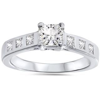 14k White Gold 1ct TDW Diamond Princess-cut Engagement Ring