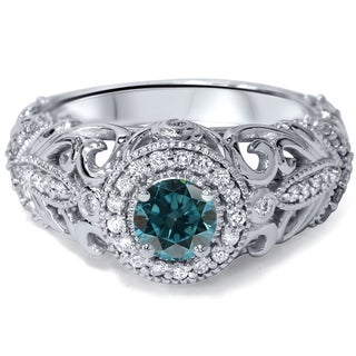 Engagement 14k White Gold 3/4ct TDW Blue and White Diamond Vintage Halo Ring