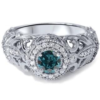 Engagement 14k White Gold 3/4ct TDW Blue and White Diamond Vintage Halo Ring