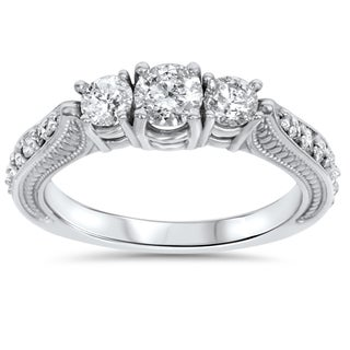 14k White Gold 1ct TDW Diamond 3-stone Vintage Engagement Ring (I-J, I2-I3)