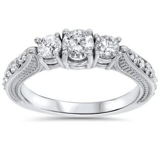 14k White Gold 1ct TDW Diamond 3-stone Vintage Engagement Ring