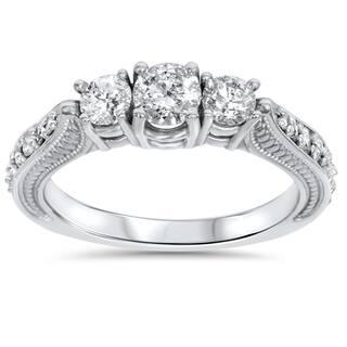 14k white gold 1ct tdw diamond 3 stone vintage engagement ring - 3 Stone Wedding Rings