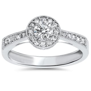 10k White Gold 1 2ct TDW Halo Vintage Milgrain Diamond Engagement Ring