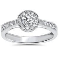 10k White Gold 1/2ct TDW Halo Vintage Milgrain Diamond Engagement Ring