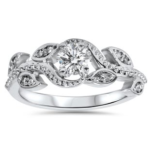 14k White Gold 3/8ct TDW Vine Petal Vintage Style Diamond Engagement Ring