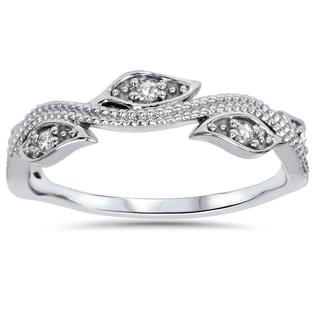 14k White Gold 1/10 ct TDW Vintage Leaf Vine Diamond Wedding Ring