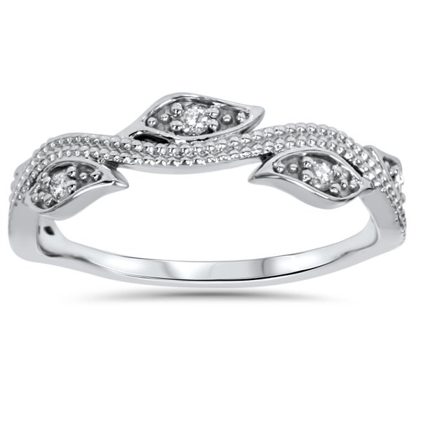 shop 14k white gold 1 10 ct tdw vintage leaf vine diamond wedding ring sale free shipping
