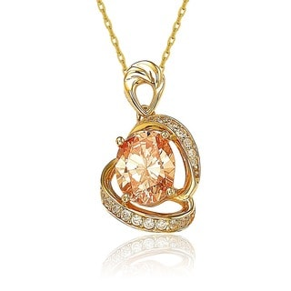 Suzy Levian 18k Gold over Sterling Silver Champagne Cubic Zirconia Love Necklace