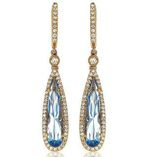 Suzy Levian Gold over Sterling Silver Cubic Zirconia Dangle Earrings|https://ak1.ostkcdn.com/images/products/9977425/P17129245.jpg?impolicy=medium