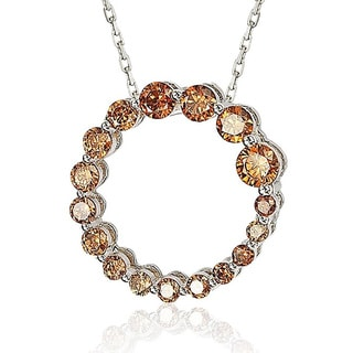 Suzy Levian Sterling Silver Cubic Zirconia Circle Journey Necklace