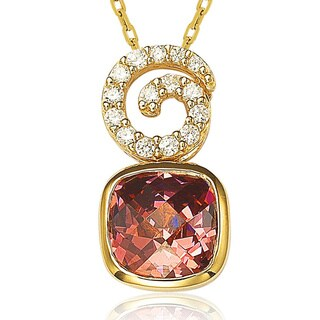 Suzy Levian Gold over Sterling Silver Cubic Zirconia Swirl Pendant