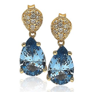 Suzy Levian Gold over Sterling Silver Cubic Zirconia Pave Dangle Earrings
