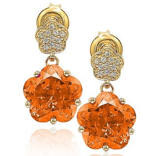 Suzy Levian Gold over Sterling Silver Cubic Zirconia Floral Dangle Earrings