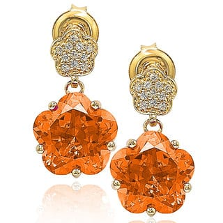 Suzy Levian Gold over Sterling Silver Cubic Zirconia Floral Dangle Earrings|https://ak1.ostkcdn.com/images/products/9977430/P17129250.jpg?impolicy=medium