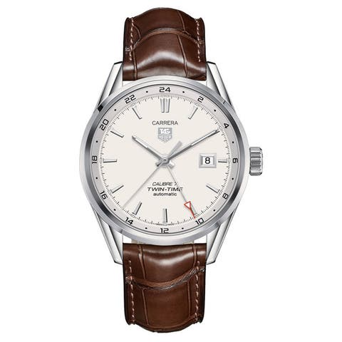 Tag Heuer Men's WAR2011.FC6291 'Carrera Calibre 7 Twin Time' Stainless Steel and Leather Watch