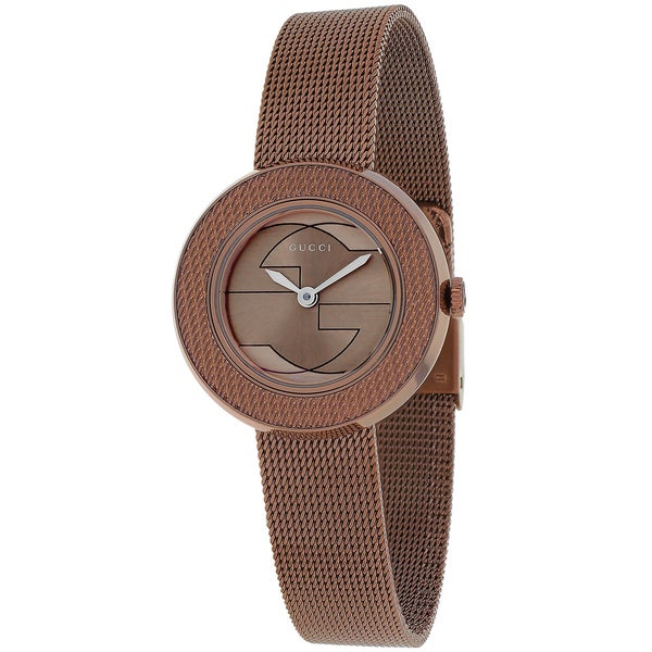 84e752c1e91 Shop Gucci Women s  U-play  Brown Stainless Steel Watch - Free Shipping  Today - Overstock - 9977461