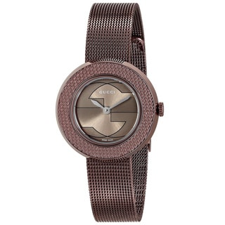 Gucci Women's YA129520 'U-play' Brown Stainless Steel Watch