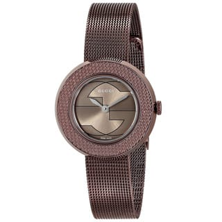 Gucci Women's YA129520 'U-play' Brown Stainless Steel Watch|https://ak1.ostkcdn.com/images/products/9977461/P17129270.jpg?impolicy=medium