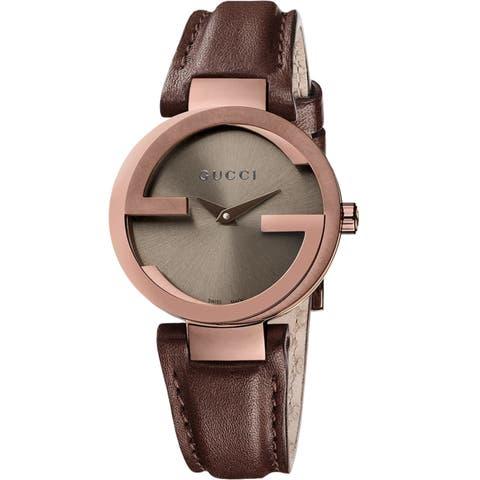 24b9335e134 Gucci Women s YA133504  Interlocking  Brown Leather Watch