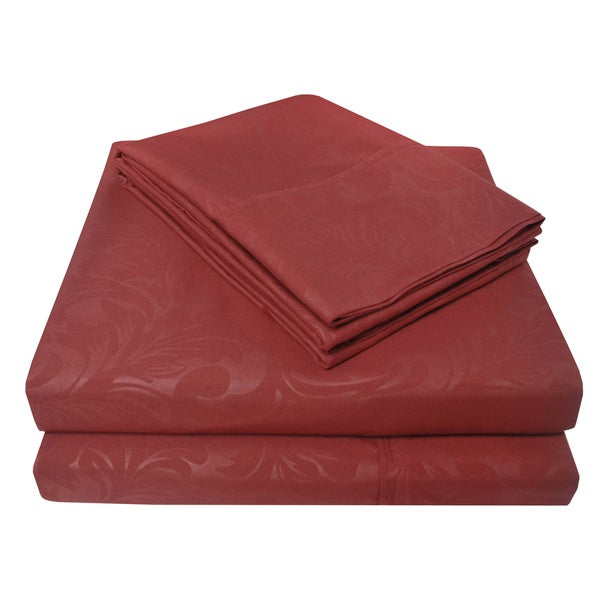 Superior Wrinkle Resistant Ivy Embossed 6 Piece Microfiber Sheet Set