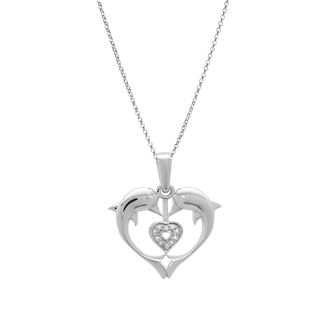 10k White Gold Diamond Accent Double Dolphin Heart Pendant