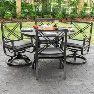 Audubon Grey Aluminum 4-person Patio Dining Set