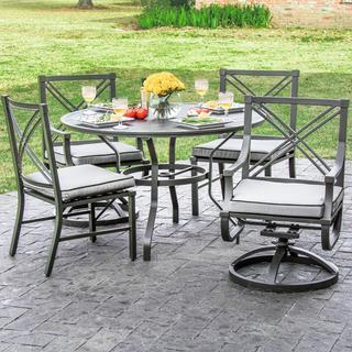 Audubon Grey Aluminum 4-person Patio Set with Swivel Rocking Chairs