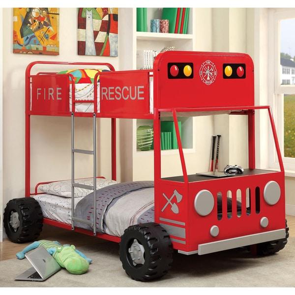 Furniture of America Rescue Team Fire Truck Metal Twin/ Twin Bunk Bed