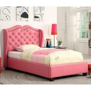 Furniture of America Roselie Tufted Pink Leatherette Platform Bed