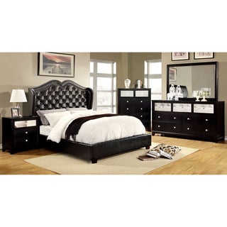 Furniture of America Roselie 4-Piece Black Leatherette Bedroom Set