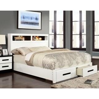 Furniture of America Deas Modern White Solid Wood Storage Platform Bed