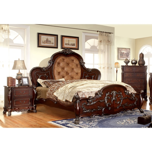 Shop Furniture Of America Tashir Traditional Style 3 Piece Cherry Bedroom Set Free Shipping
