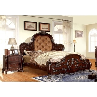 Furniture of America Tashir Traditional Style 2-piece Cherry Bed and Nightstand Set