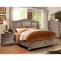Furniture of America Minka Rustic Grey 2-piece Bed with Nightstand Set