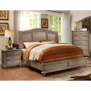 Furniture Of America Minka Rustic Grey 2 Piece Bed With Nightstand Set