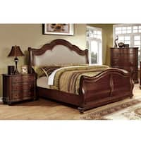 Furniture of America Ceres II Brown Cherry 2-piece Bed with Nightstand Set