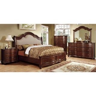 Furniture of America Tole Traditional Cherry 4-piece Bedroom Set