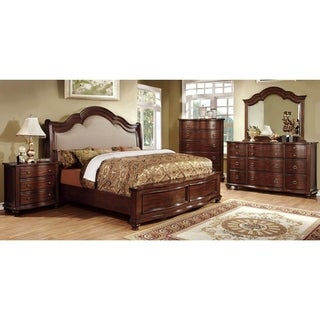 Furniture of America Ceres I Brown Cherry 4-piece Bedroom Set
