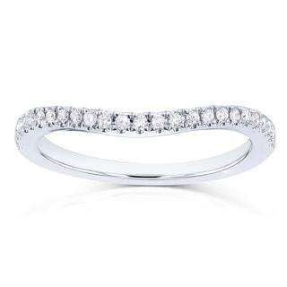 Annello by Kobelli 14k White Gold 1/8ct TDW Curved Diamond Wedding Band