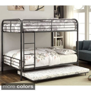 Furniture of America Linden II 2-piece Full Over Full Metal Bunk Bed with Trundle Set (Option: Black)