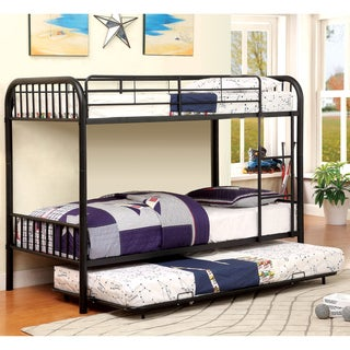 Linden II Modern Twin Over Twin 2-Piece Bunk Bed Set by FOA (Black)